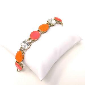 J Crew Link Bracelet Hot Pink and Orange Coral